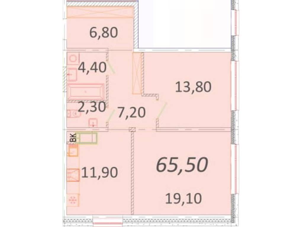 2-комнатная квартира, 65.50 м2, 57000 у.е.
