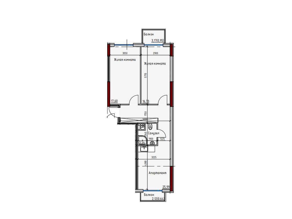 2-комнатная квартира, 65.45 м2, 75268 у.е.
