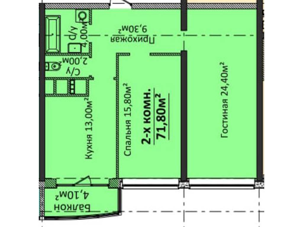 2-комнатная квартира, 71.80 м2, 75100 у.е.