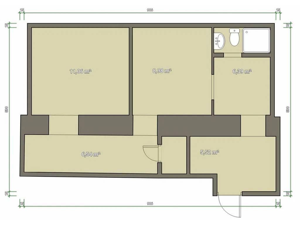 2-комнатная квартира, 41.00 м2, 40000 у.е.