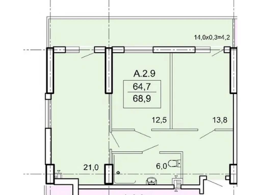 2-комнатная квартира, 68.90 м2, 65000 у.е.