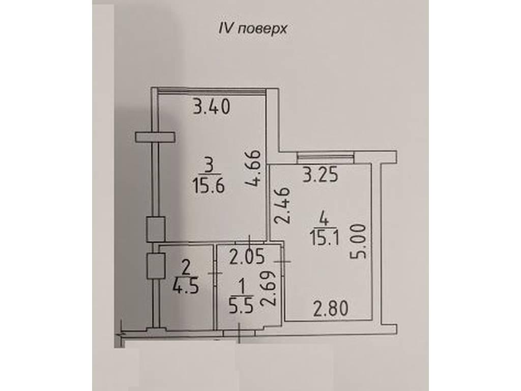 1-комнатная квартира, 40.70 м2, 43500 у.е.
