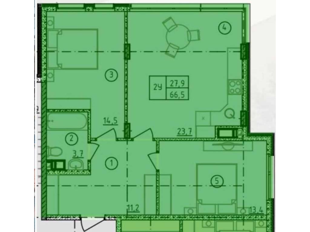 2-комнатная квартира, 66.50 м2, 66500 у.е.