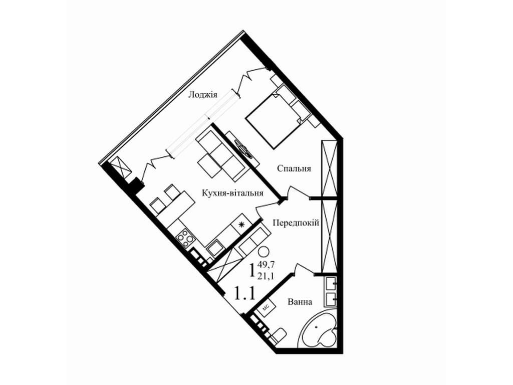 1-комнатная квартира, 48.80 м2, 82800 у.е.