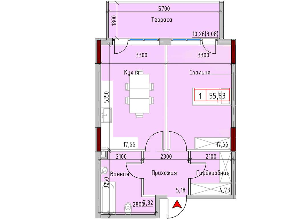 1-комнатная квартира, 55.63 м2, 65780 у.е.