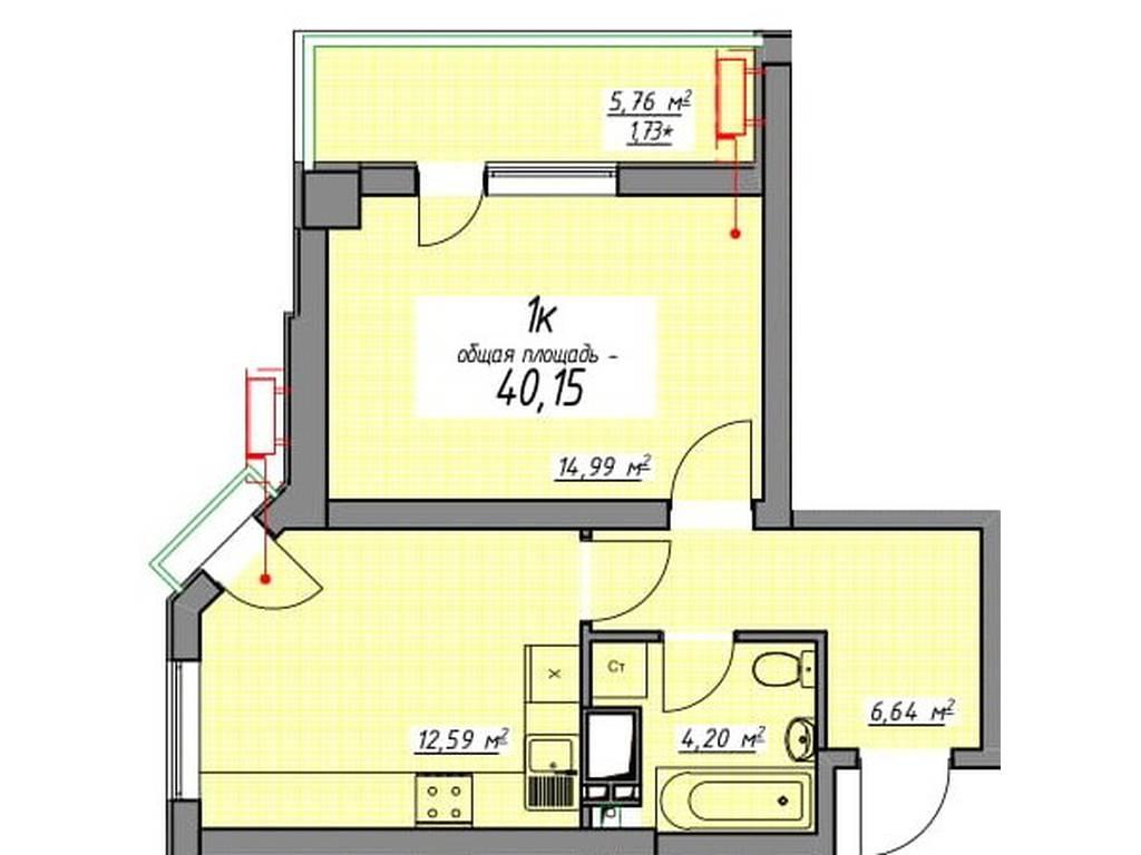 1-комнатная квартира, 40.15 м2, 41335 у.е.