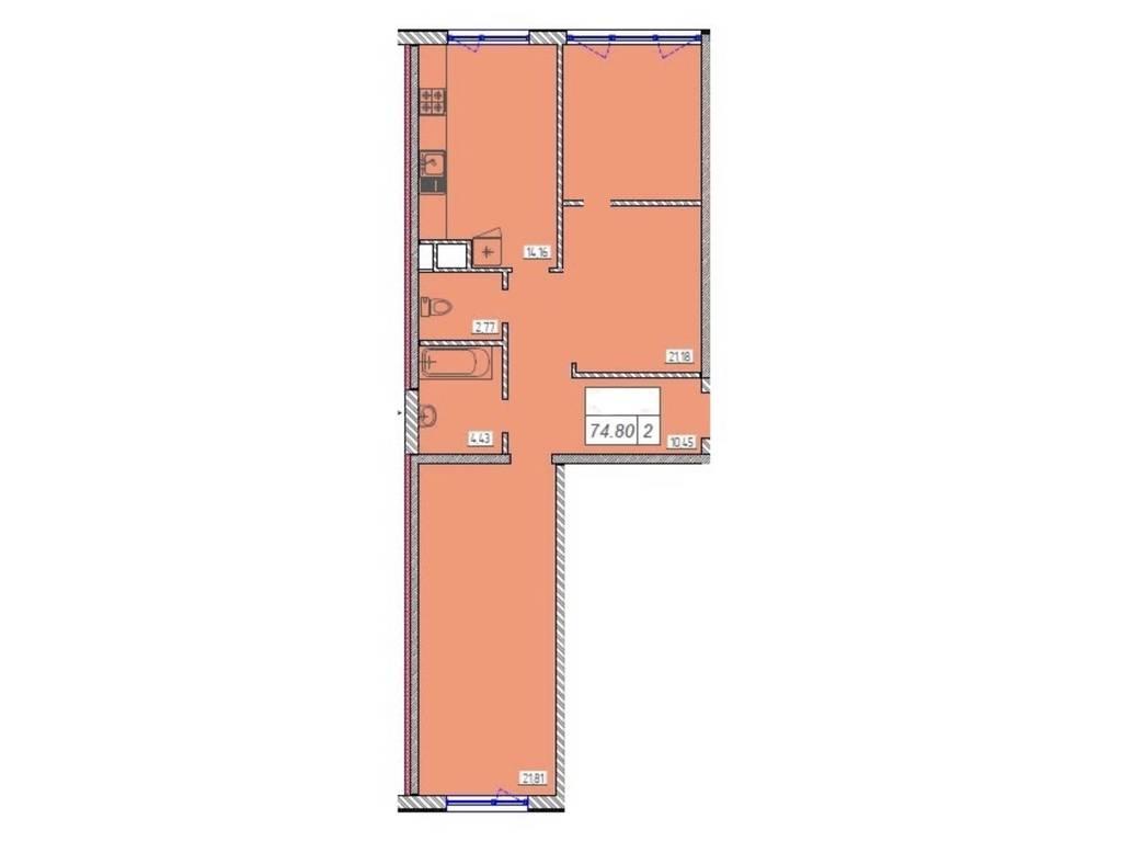 2-комнатная квартира, 74.00 м2, 72300 у.е.