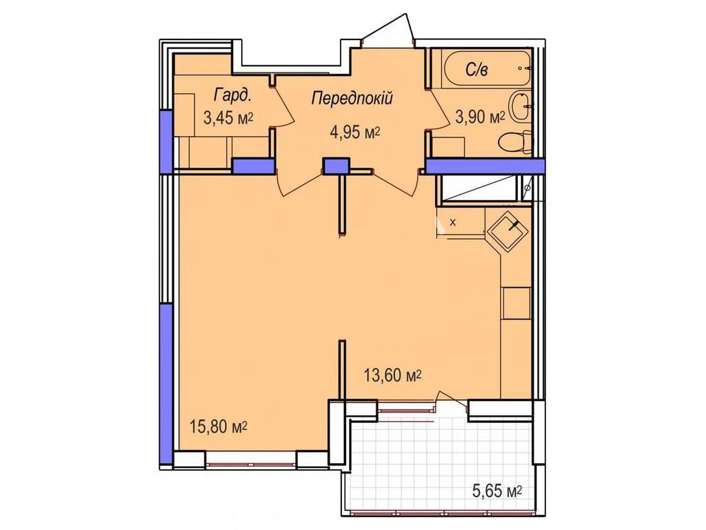 1-комнатная квартира, 45.30 м2, 36240 у.е.