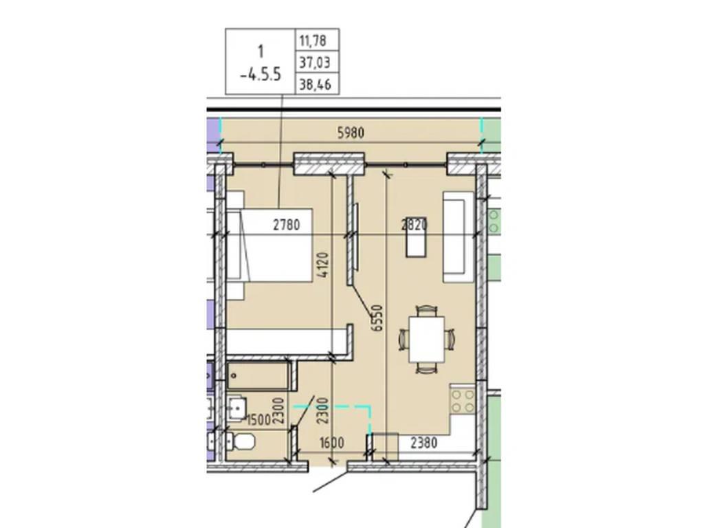 1-комнатная квартира, 38.46 м2, 47500 у.е.
