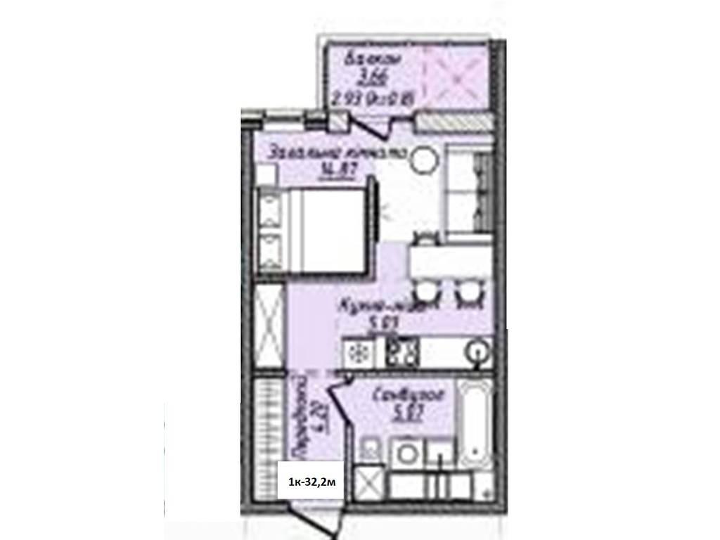 1-комнатная квартира, 32.20 м2, 32683 у.е.