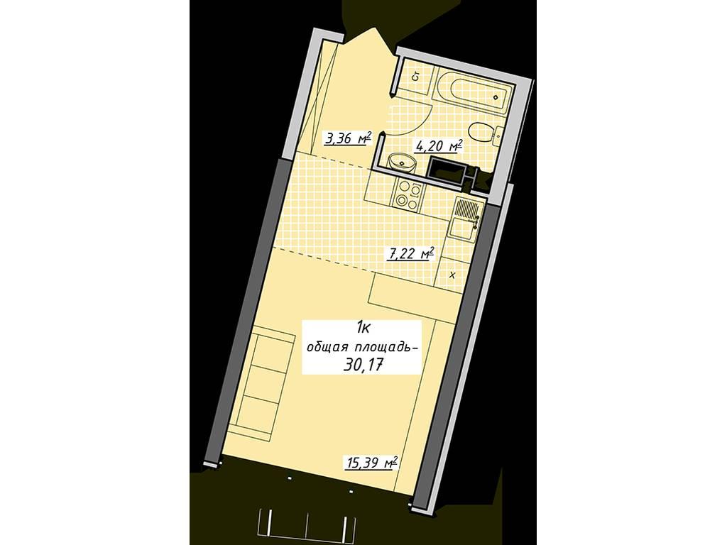 1-комнатная квартира, 30.17 м2, 33187 у.е.