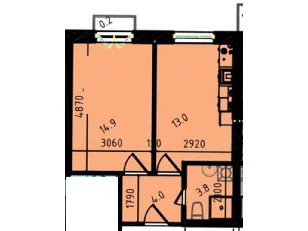 1-комнатная квартира, 35.90 м2, 26099 у.е.
