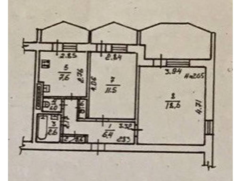 2-комнатная квартира, 55.90 м2, 42000 у.е.