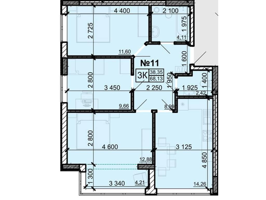 3-комнатная квартира, 68.13 м2, 47350 у.е.