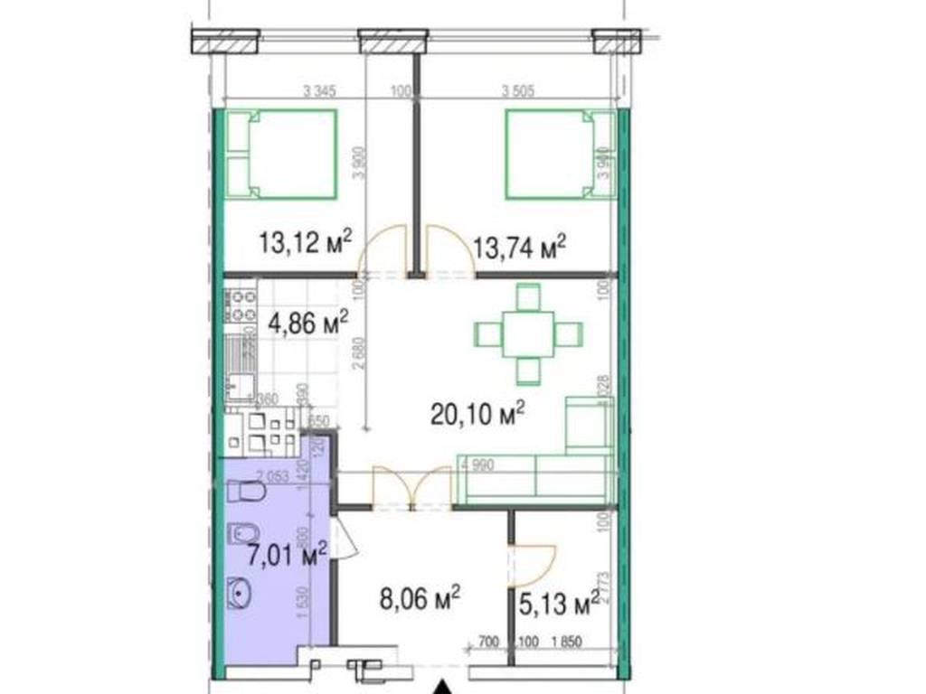 2-комнатная квартира, 74.70 м2, 99000 у.е.