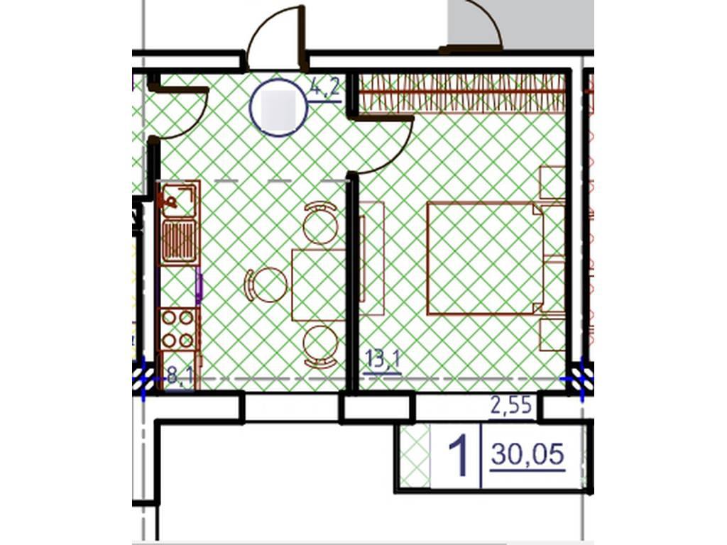 1-комнатная квартира, 30.00 м2, 33600 у.е.