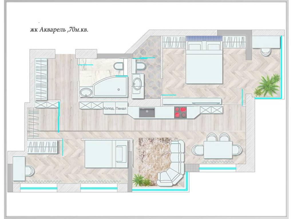 2-комнатная квартира, 70.00 м2, 45000 у.е.
