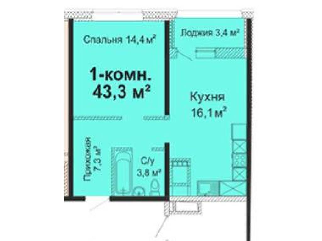 1-комнатная квартира, 43.30 м2, 38500 у.е.