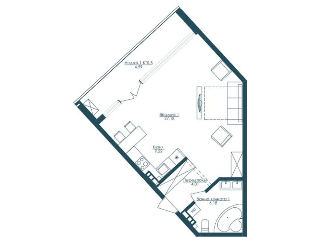 1-комнатная квартира, 52.00 м2, 112000 у.е.