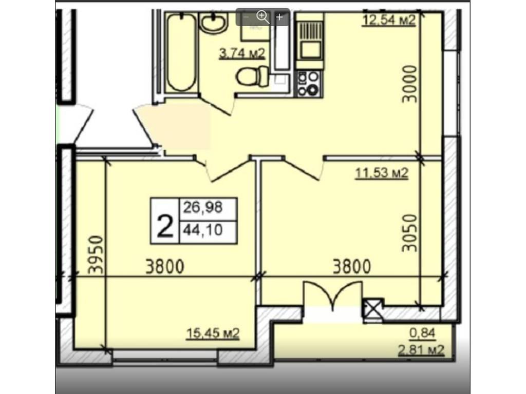 2-комнатная квартира, 44.00 м2, 52700 у.е.