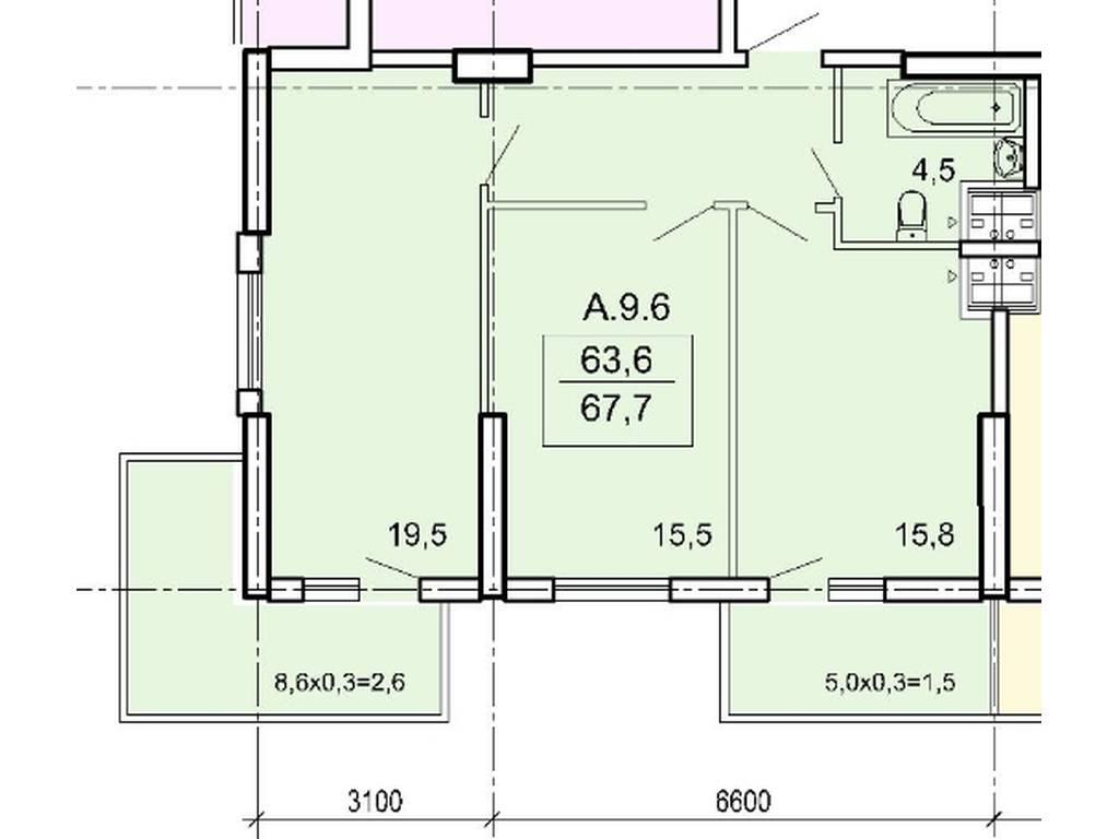 2-комнатная квартира, 67.80 м2, 67000 у.е.