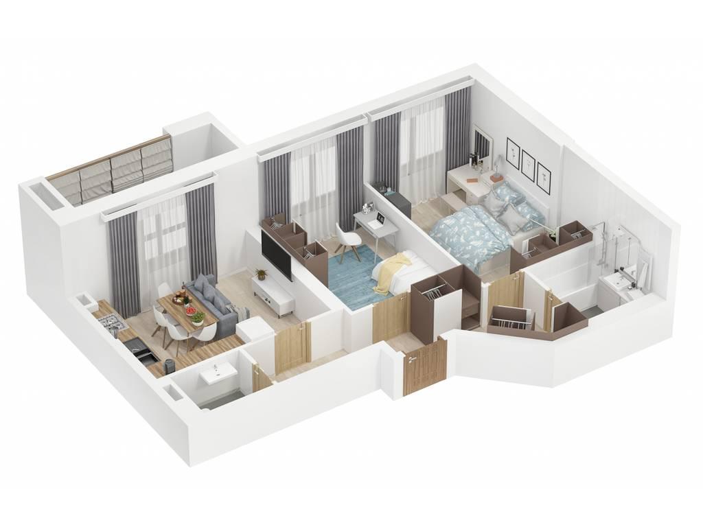 2-комнатная квартира, 63.76 м2, 47820 у.е.