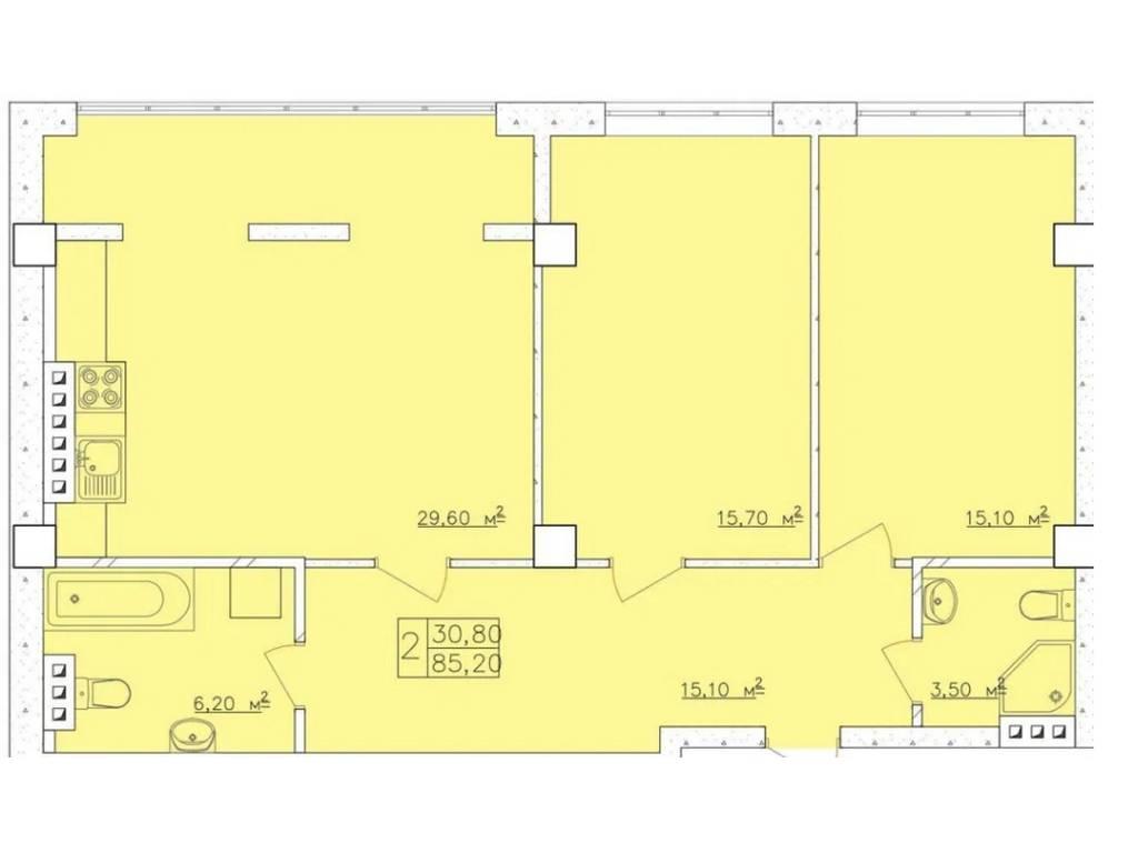 2-комнатная квартира, 85.60 м2, 64000 у.е.