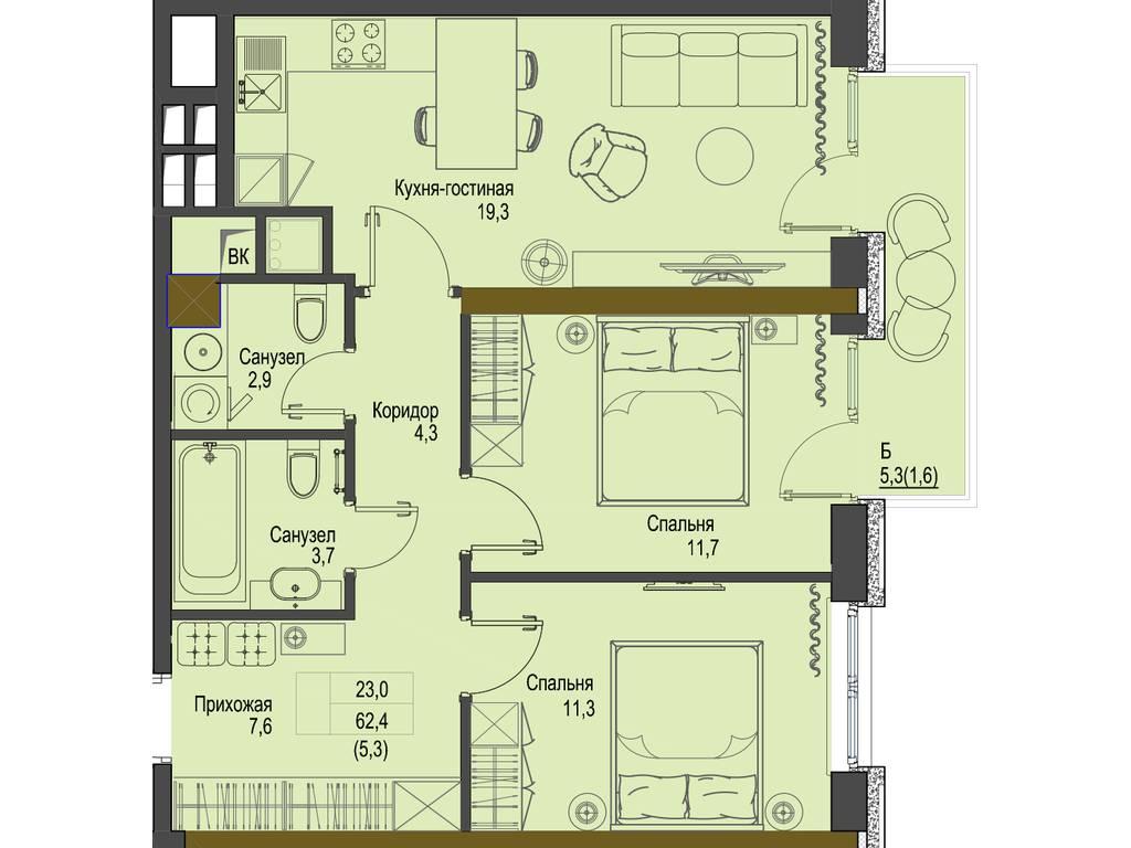2-комнатная квартира, 62.40 м2, 93600 у.е.