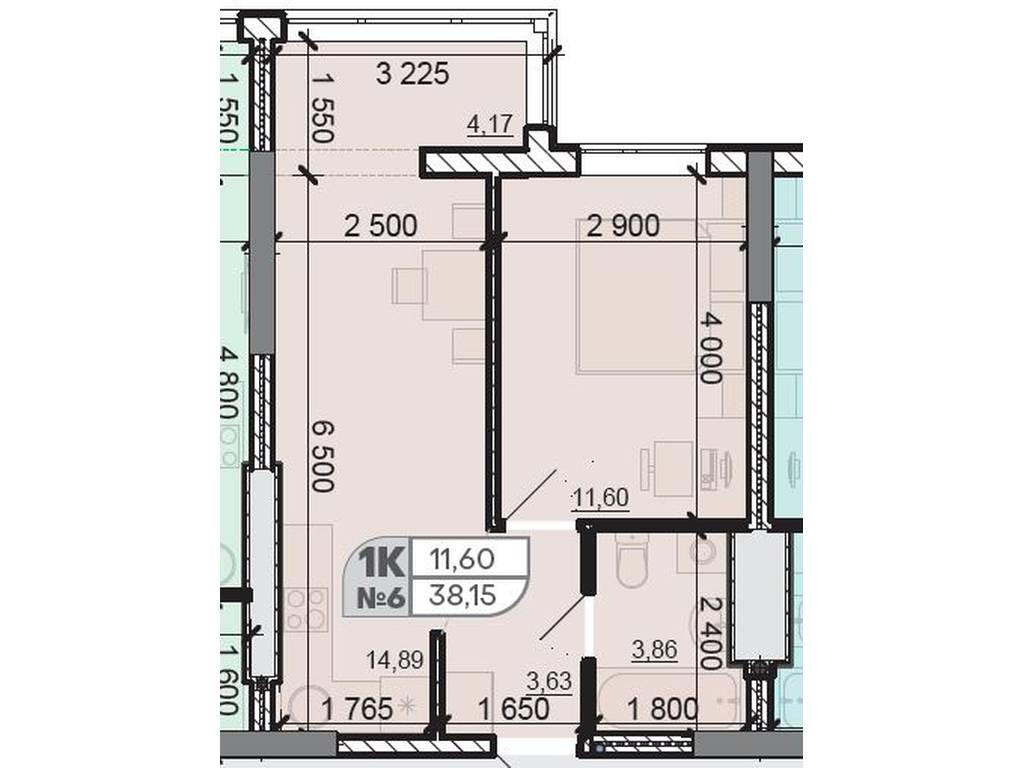 1-комнатная квартира, 38.15 м2, 26514 у.е.