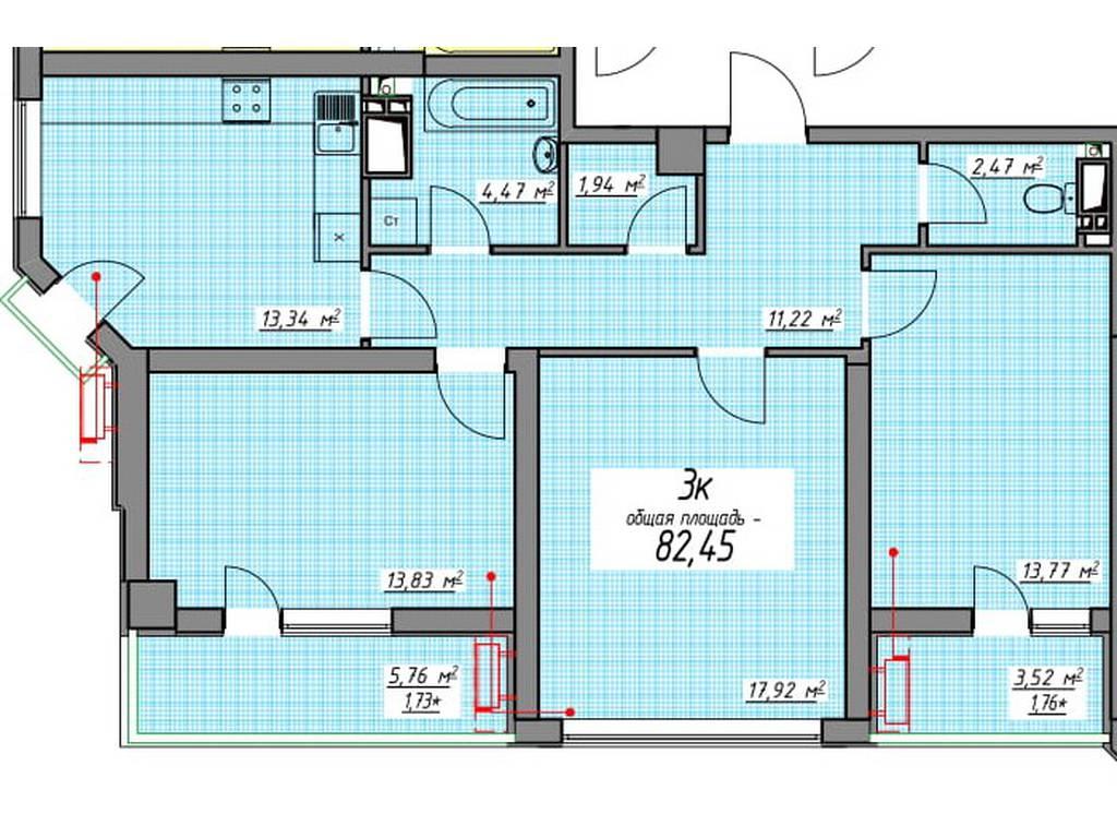 3-комнатная квартира, 82.72 м2, 100000 у.е.