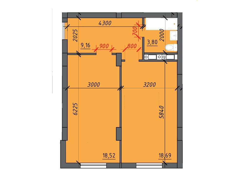 1-комнатная квартира, 51.00 м2, 30600 у.е.
