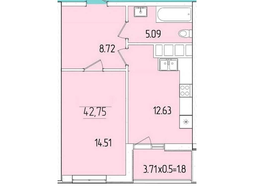 1-комнатная квартира, 42.75 м2, 36551 у.е.