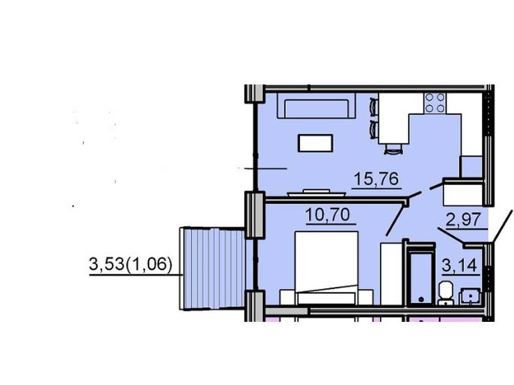 1-комнатная квартира, 32.60 м2, 37500 у.е.
