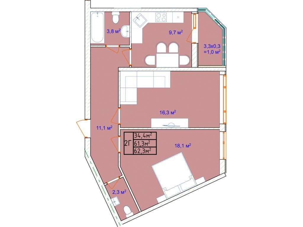 2-комнатная квартира, 65.20 м2, 56724 у.е.
