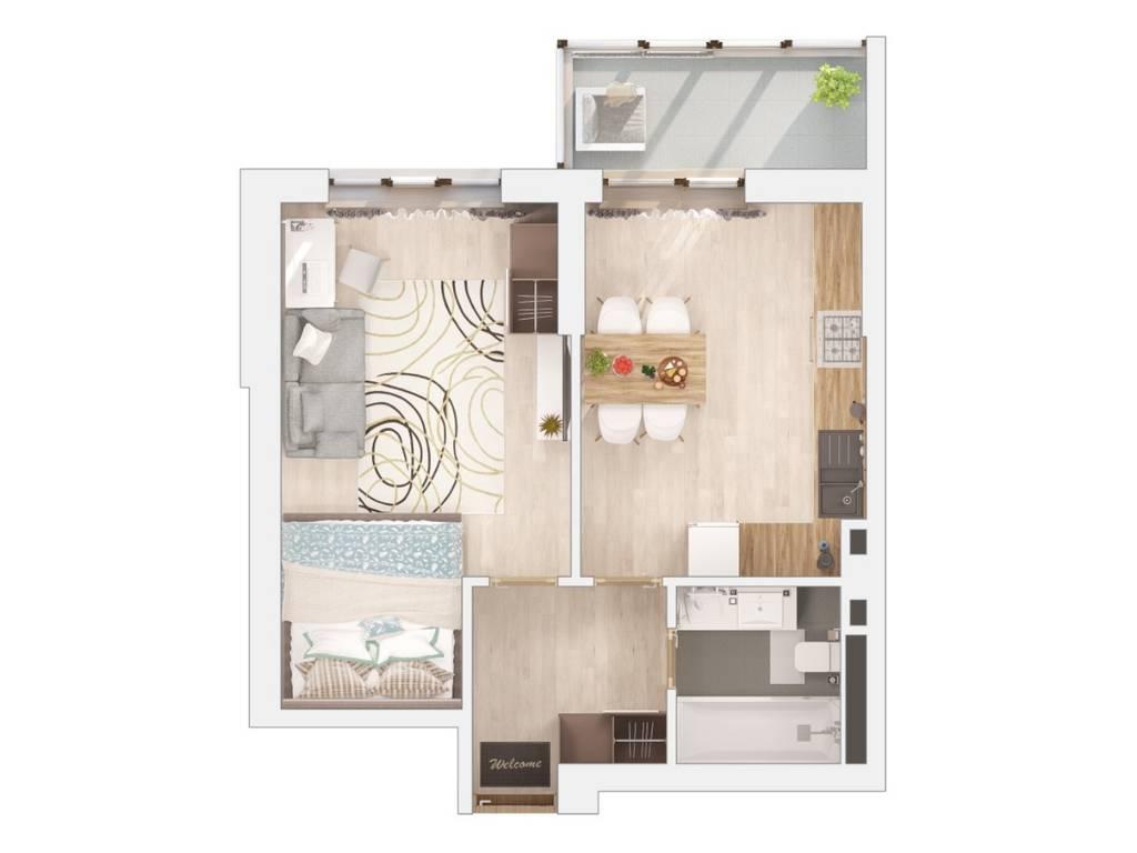 1-комнатная квартира, 46.81 м2, 30660 у.е.