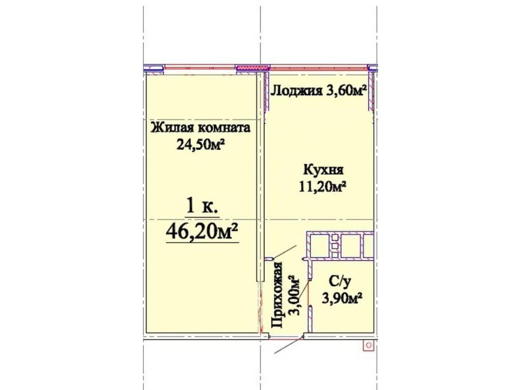 1-комнатная квартира, 45.70 м2, 57000 у.е.