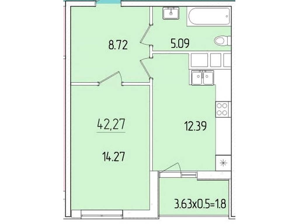 1-комнатная квартира, 42.27 м2, 36140 у.е.