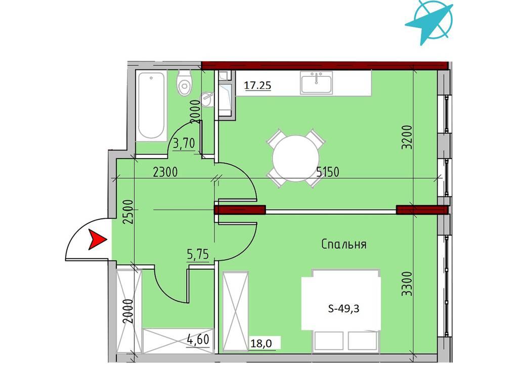 1-комнатная квартира, 49.30 м2, 69513 у.е.