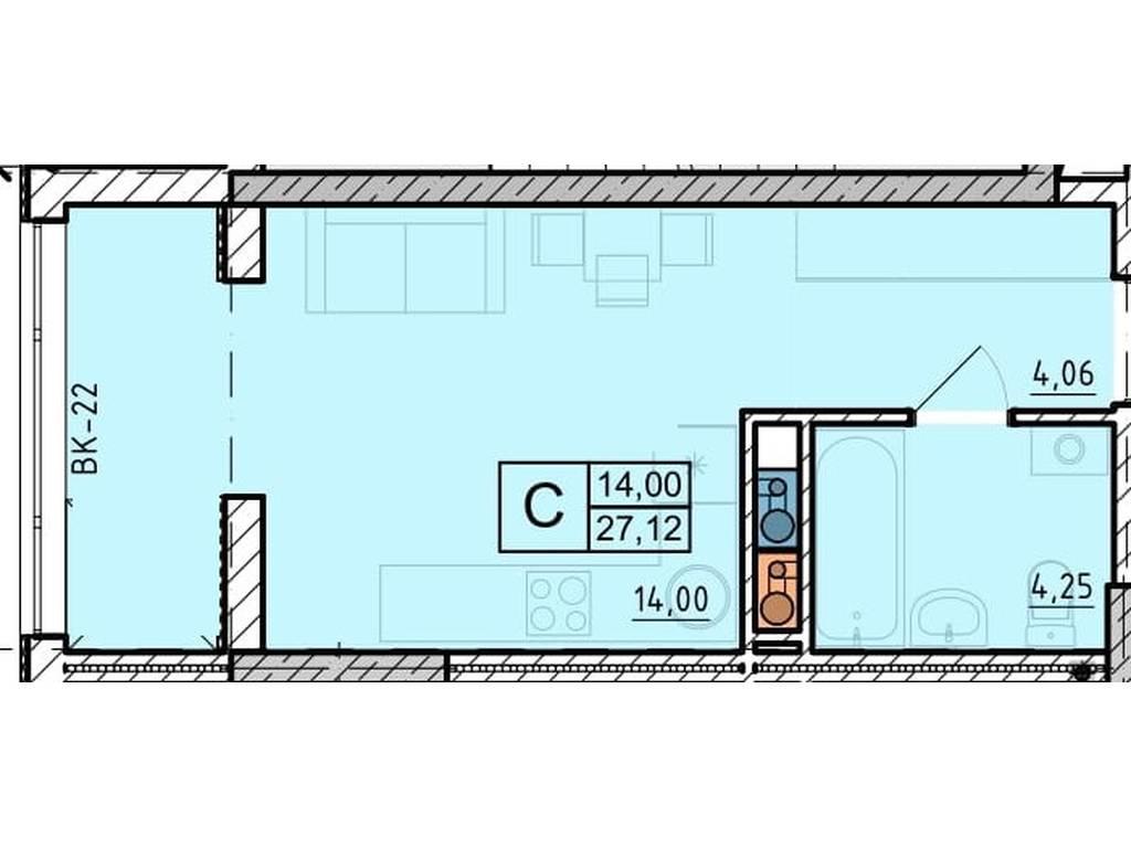 1-комнатная квартира, 27.68 м2, 20760 у.е.