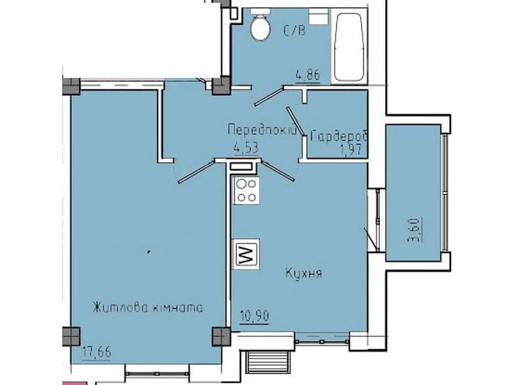 1-комнатная квартира, 43.00 м2, 40822 у.е.
