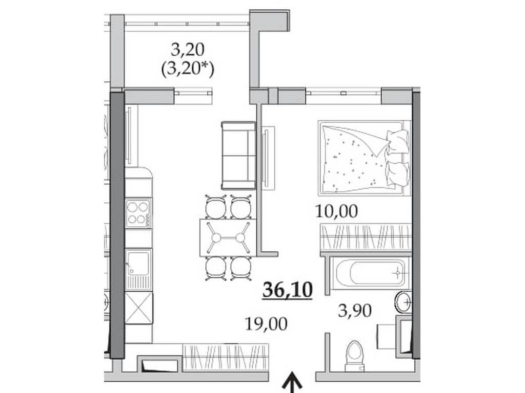 1-комнатная квартира, 35.90 м2, 29079 у.е.