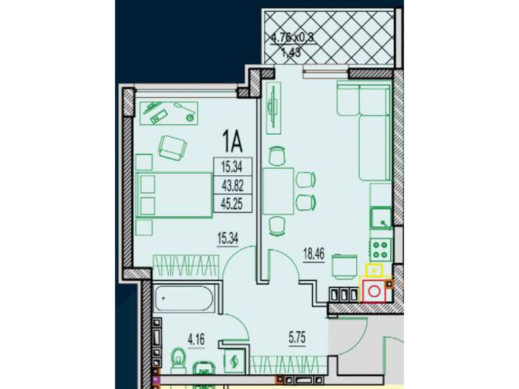 1-комнатная квартира, 49.00 м2, 56360 у.е.