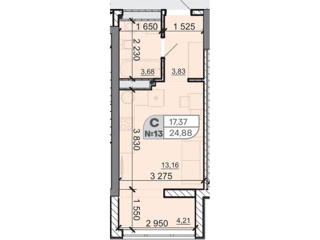 1-комнатная квартира, 24.88 м2, 17416 у.е.