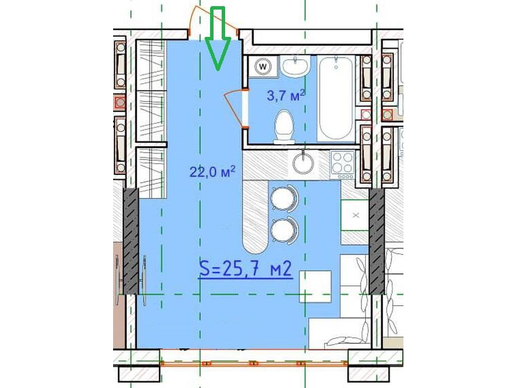 1-комнатная квартира, 26.00 м2, 24000 у.е.