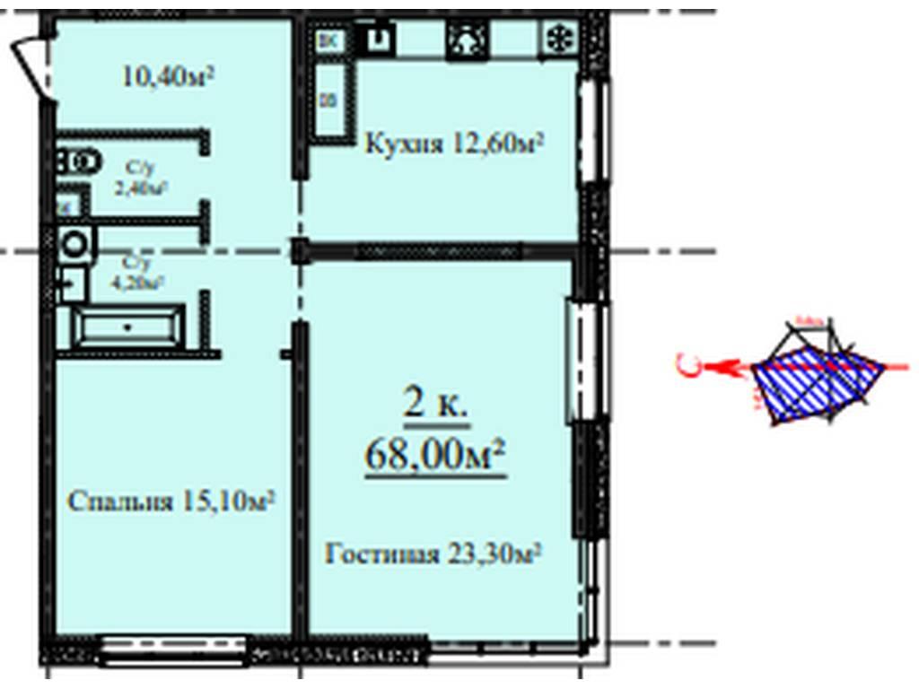 2-комнатная квартира, 68.00 м2, 72000 у.е.