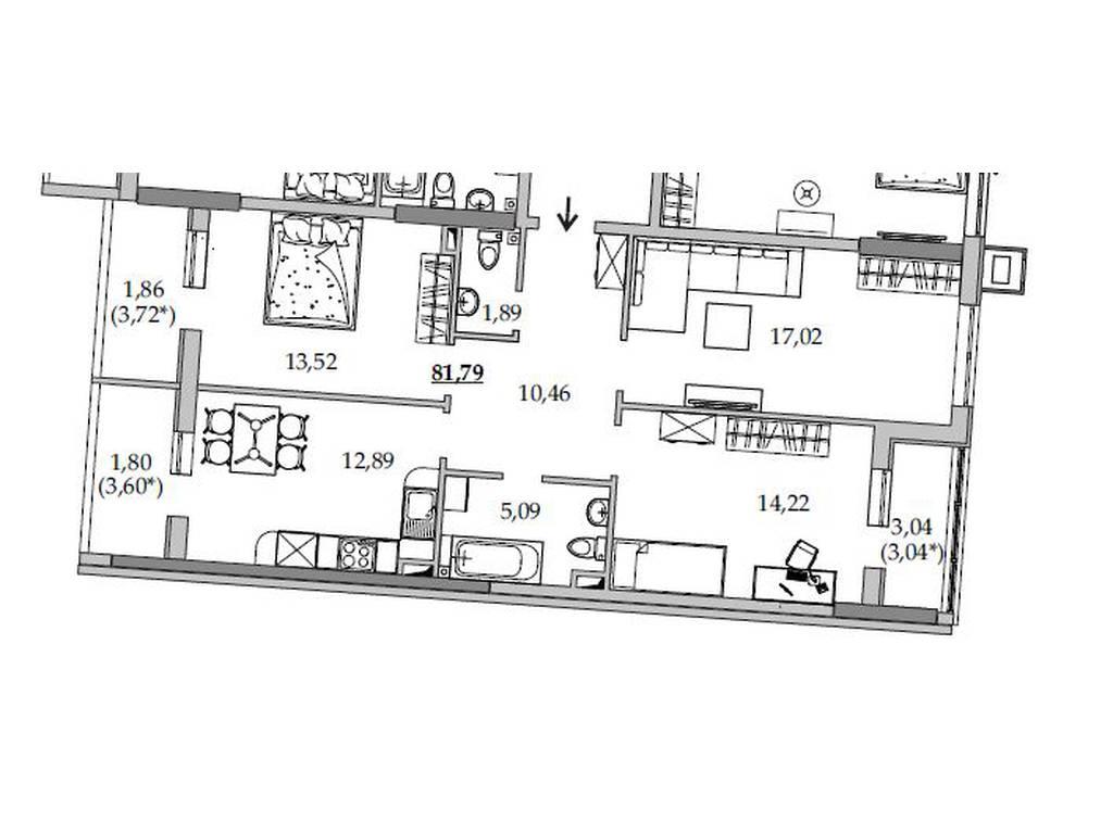 3-комнатная квартира, 81.79 м2, 55617 у.е.