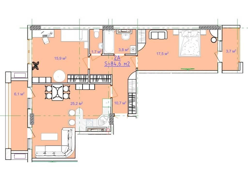 2-комнатная квартира, 84.60 м2, 59220 у.е.