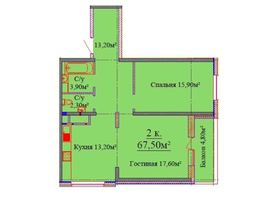 2-комнатная квартира, 67.30 м2, 54500 у.е.