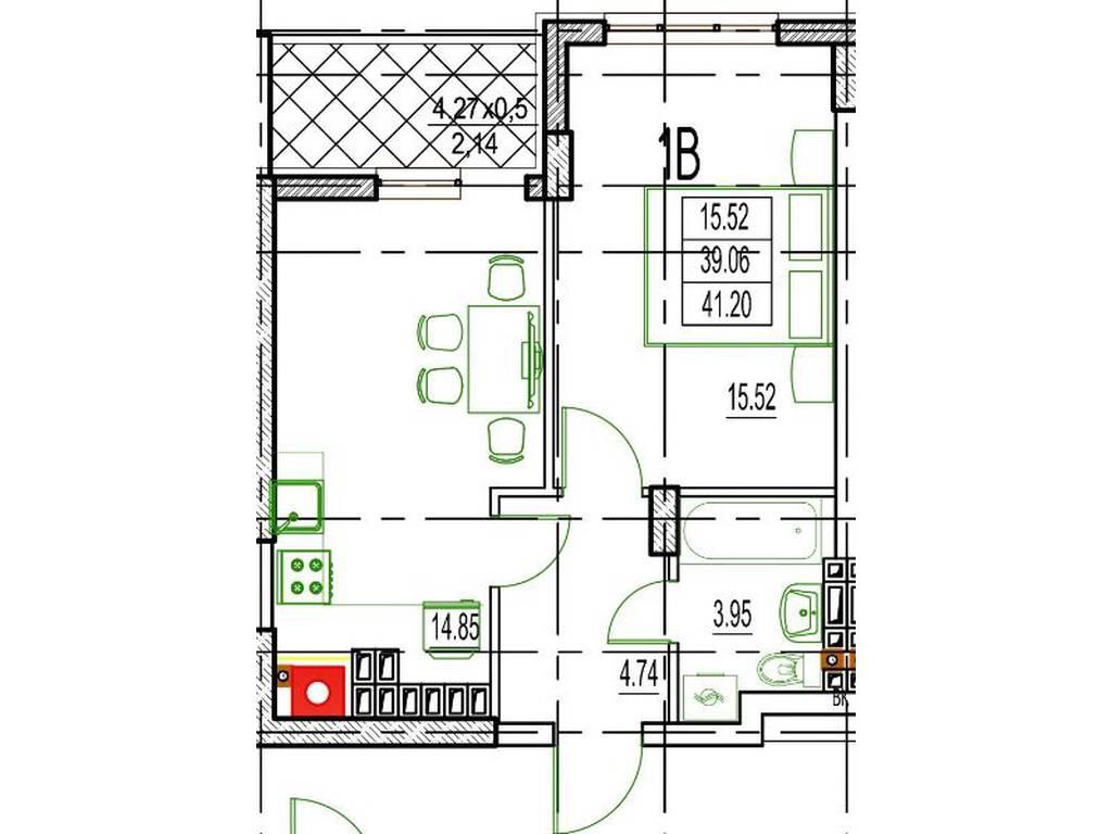 1-комнатная квартира, 42.79 м2, 50278 у.е.