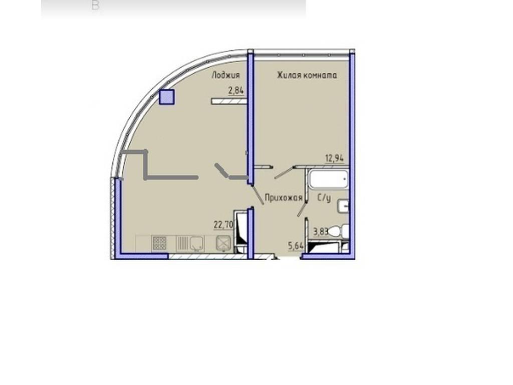 2-комнатная квартира, 48.00 м2, 75000 у.е.